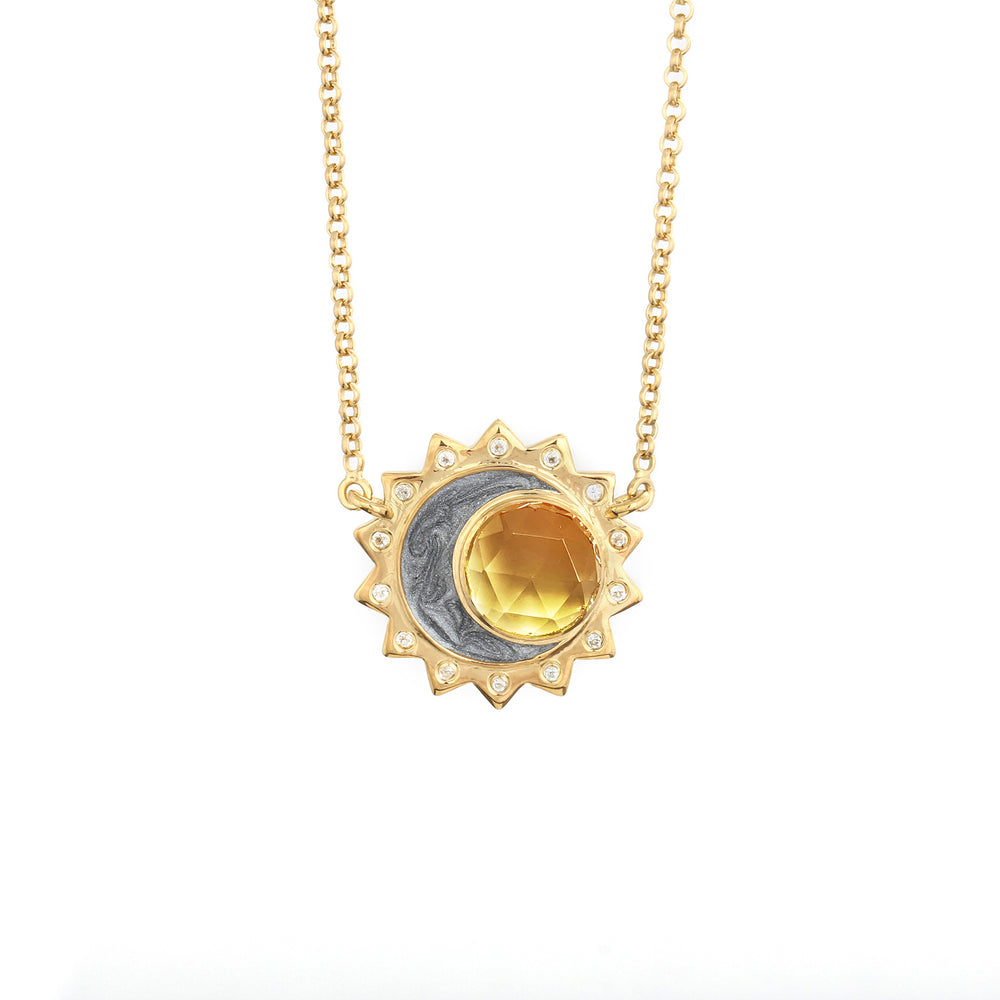 Citrine Sun Moon Birthstone Necklace - Gold Plated
