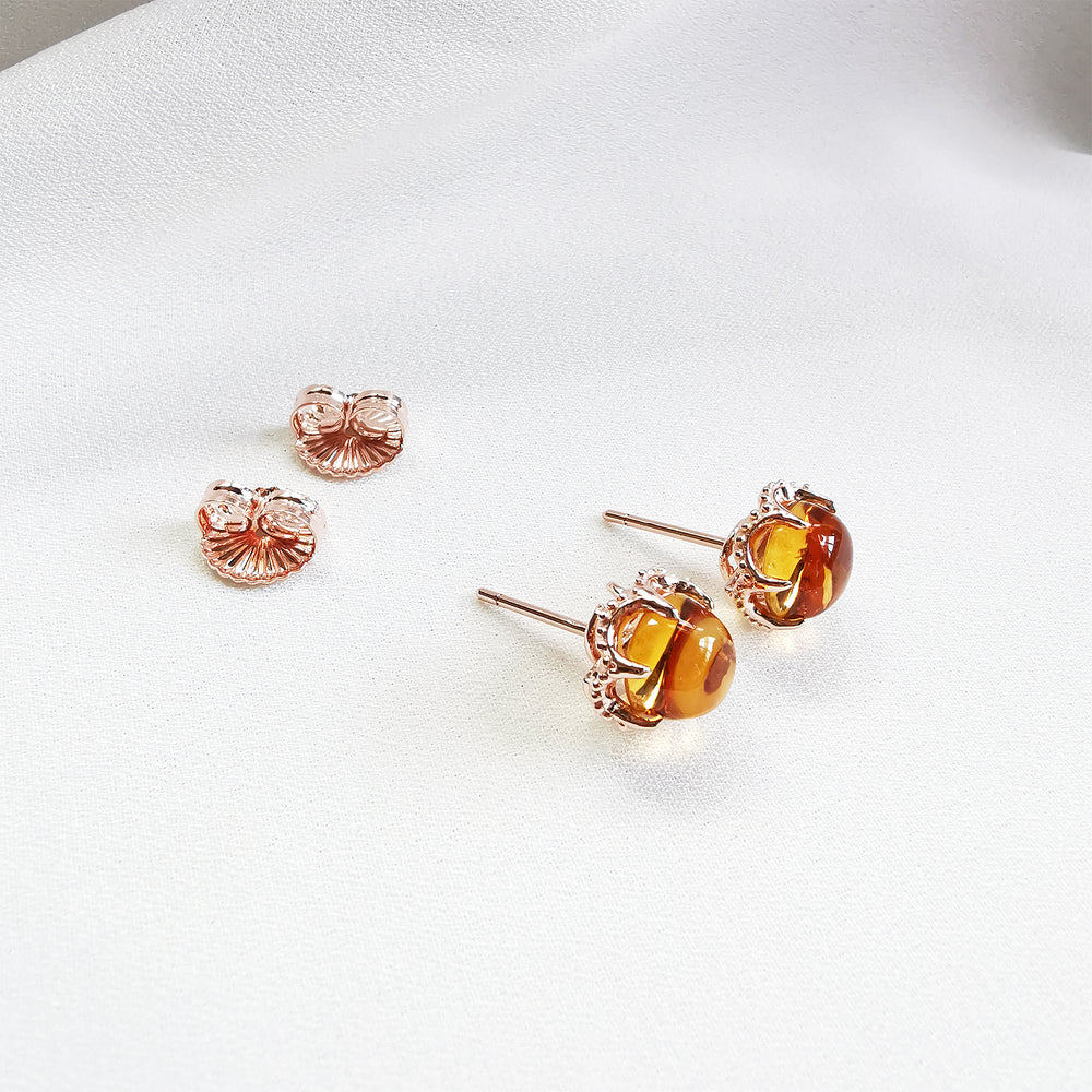 Clara Citrine Round Cabochon Stud Earrings - Rose Gold Plated