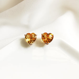 Mavis Citrine Heart Stud Earrings - Rose Gold Plated