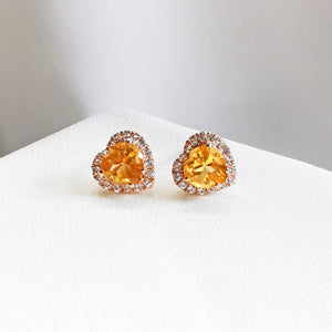 citrine heart halo stud earrings
