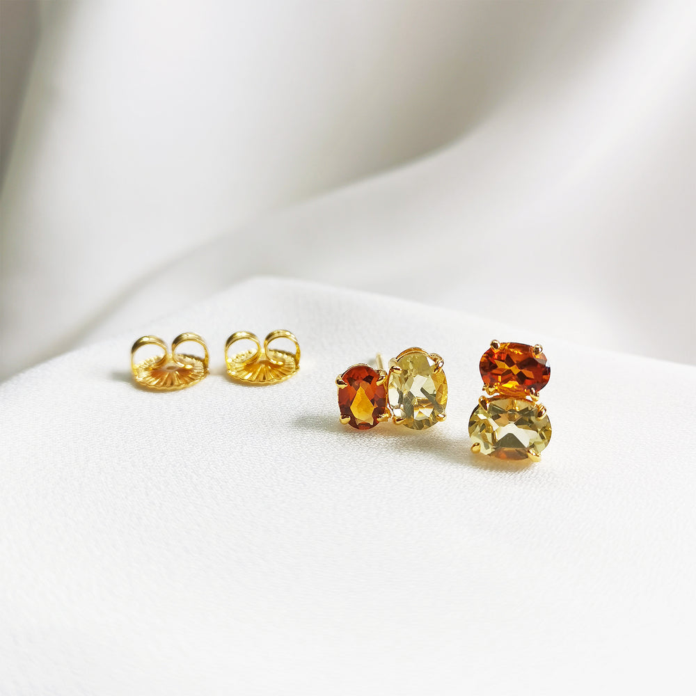 Amber Citrine & Lemon Quartz Duo Oval Stud Earrings - Gold Plated