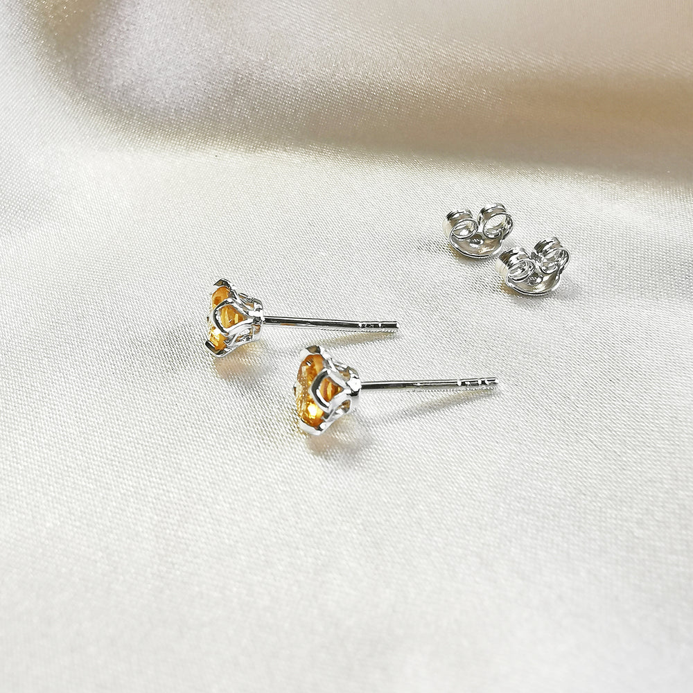 Rhodium plated Citrine Round Stud Earrings