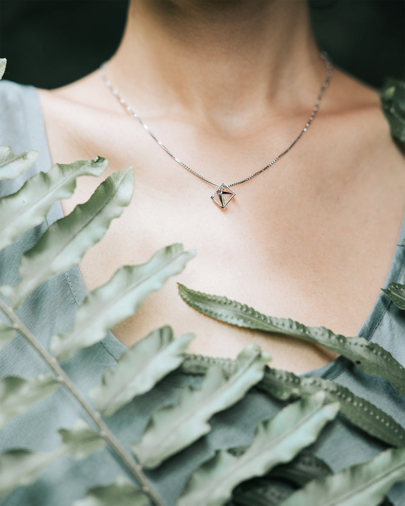 Load image into Gallery viewer, Ethereal geometric sterling silver pendant necklace