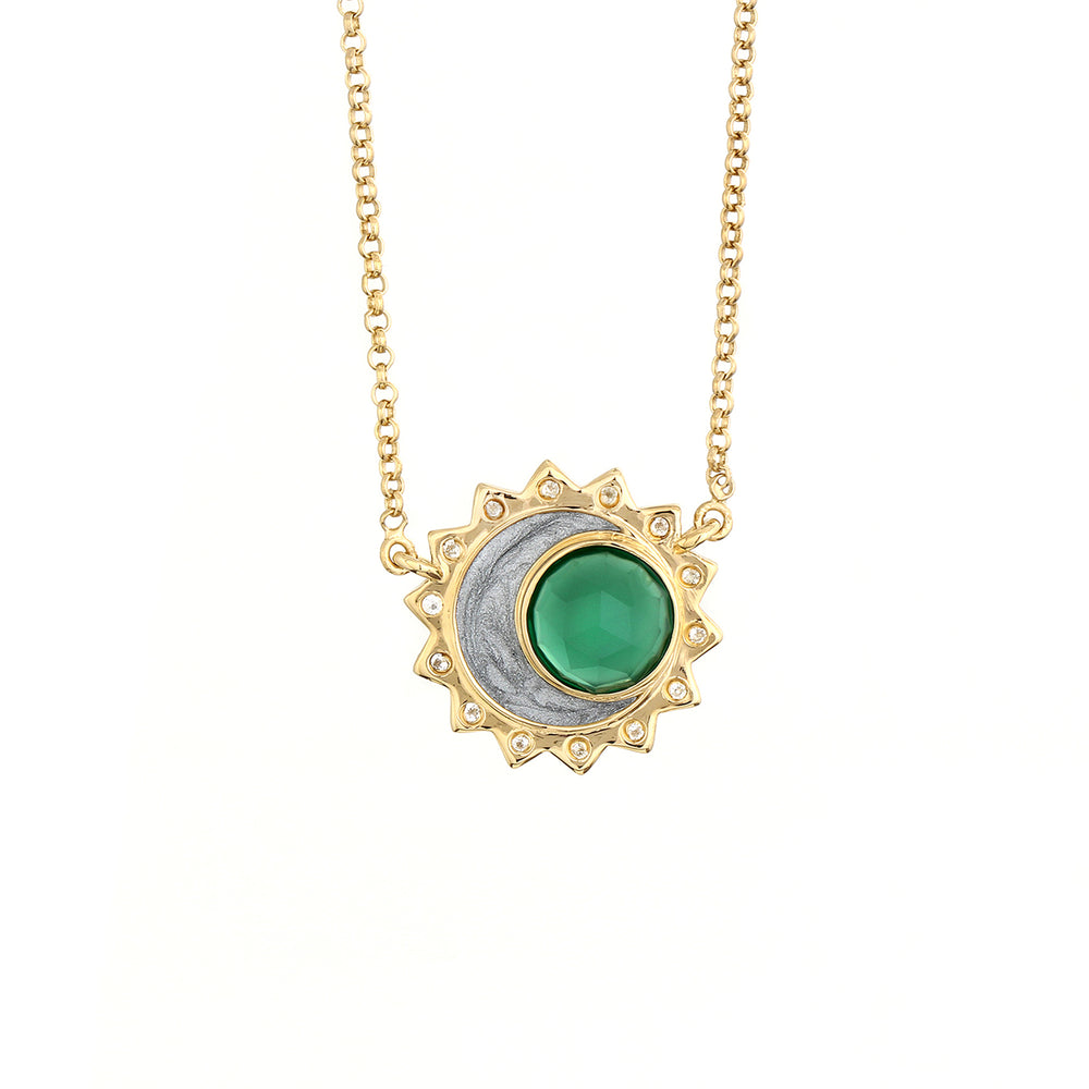 Green Onyx Sun Moon Birthstone Necklace - Gold Plated