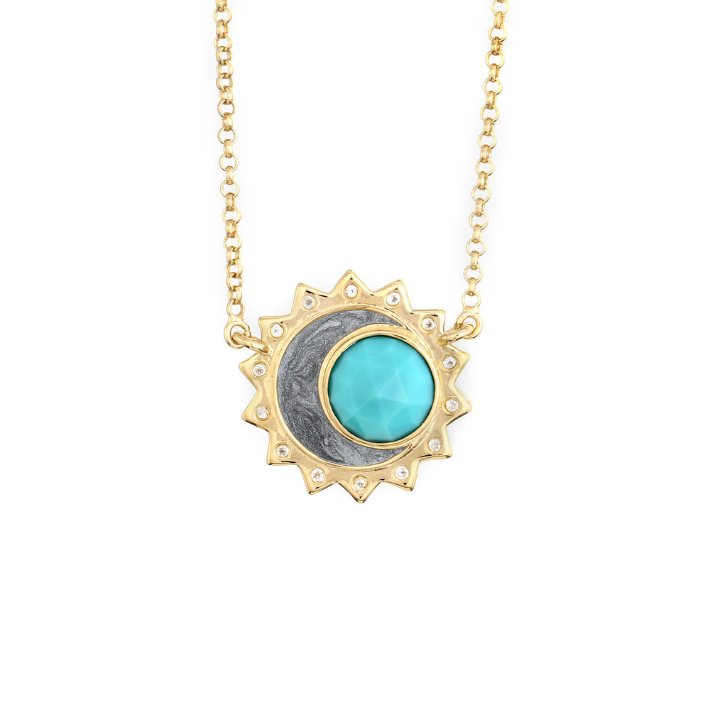 Turquoise Sun Moon Birthstone Necklace - Gold Plated