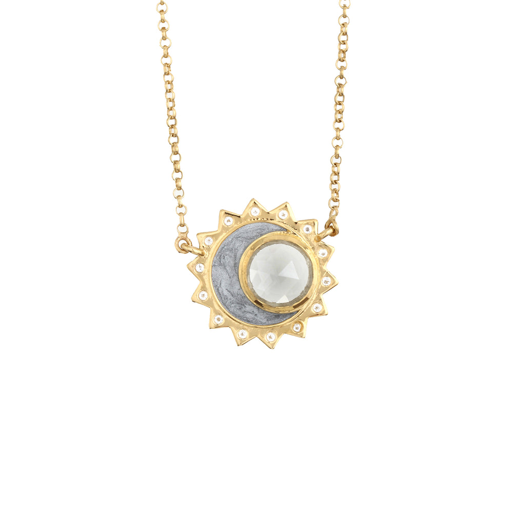 White Topaz Sun Moon Birthstone Necklace - Gold Plated