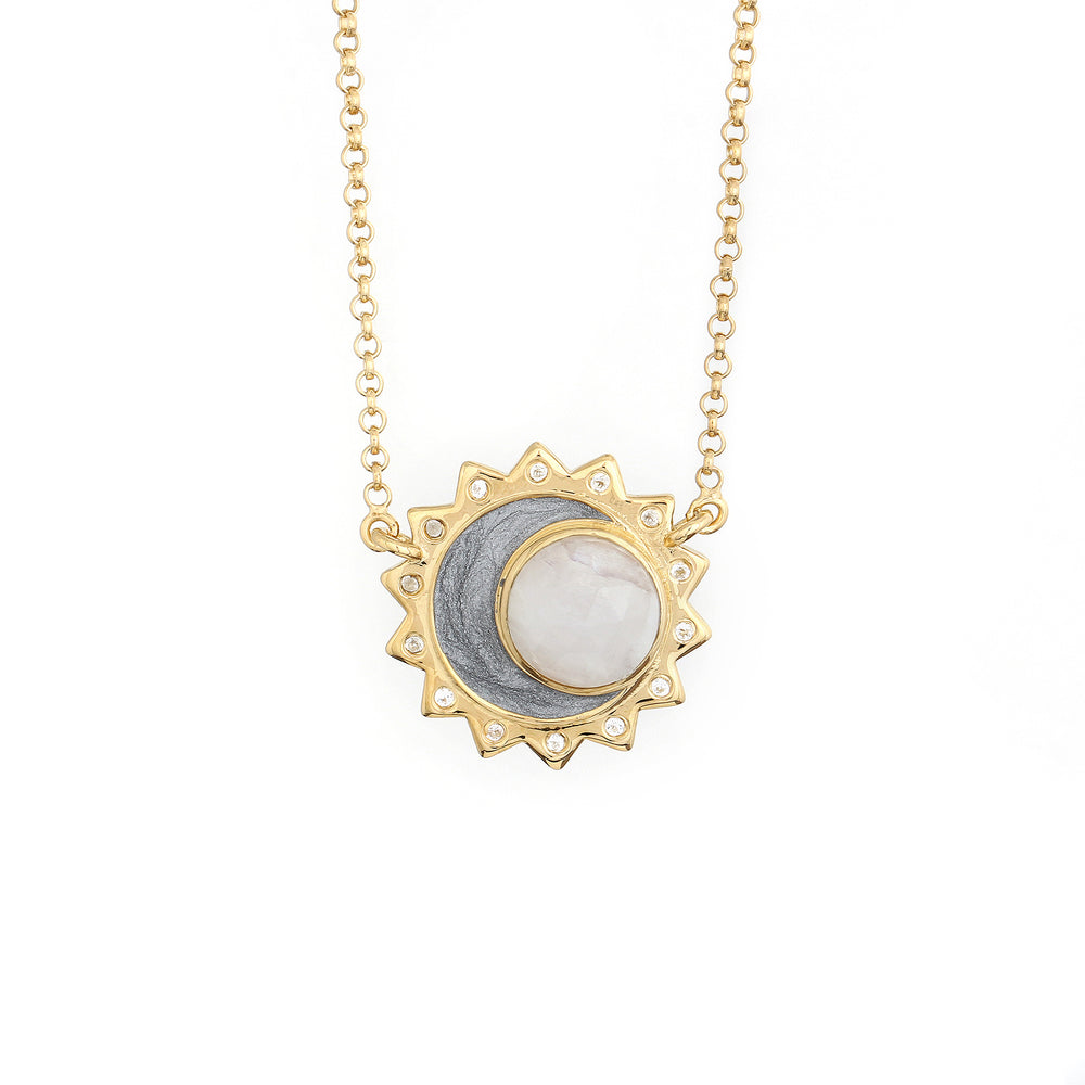 Rainbow Moonstone Sun Moon Birthstone Necklace - Gold Plated