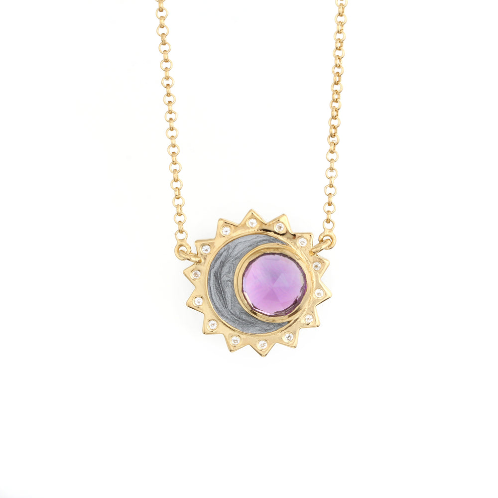 Amethyst Sun Moon Birthstone Necklace - Gold Plated