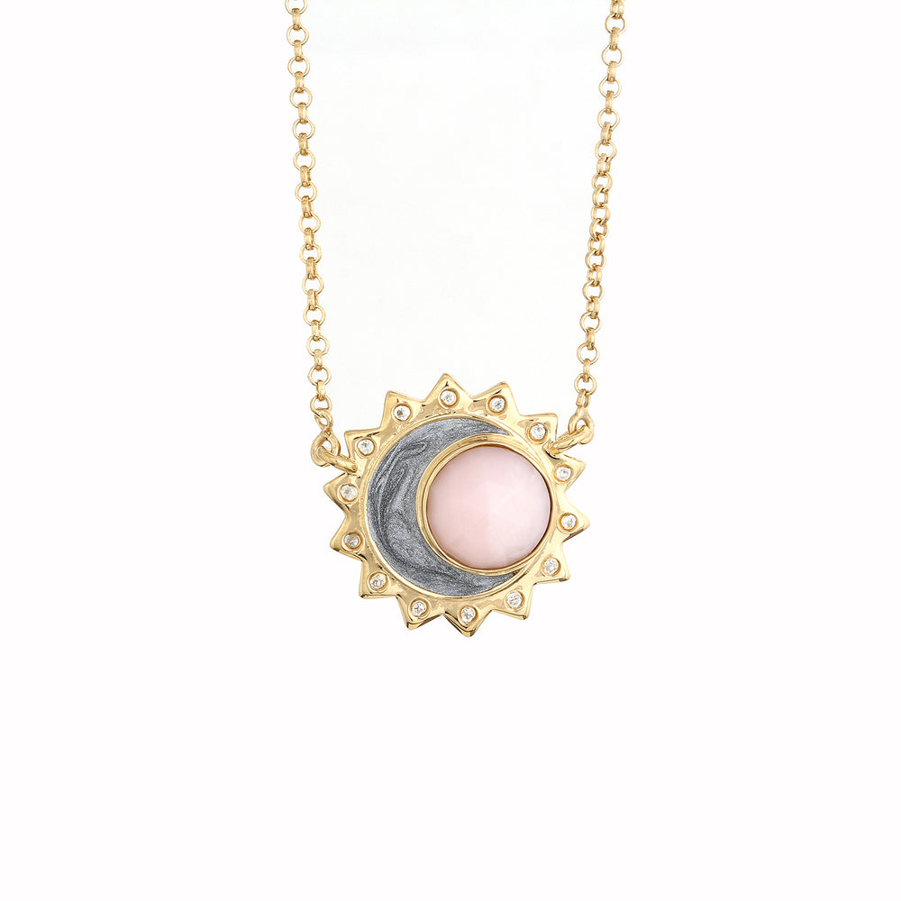 Celestial Pink Opal Rose Cut Cabochon Birthstone Necklace - October