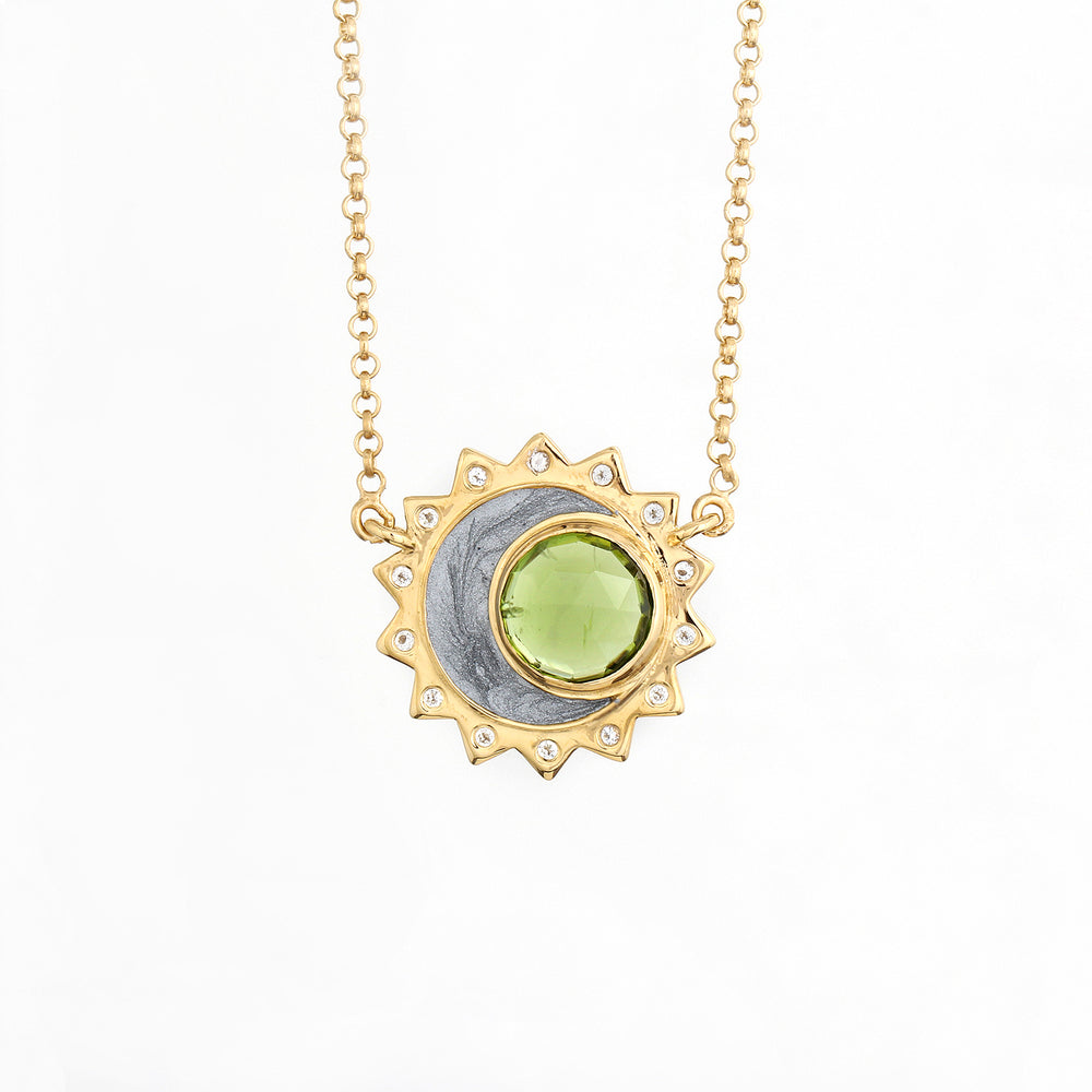 Peridot Sun Moon Birthstone Necklace - Gold Plated