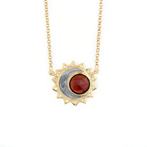 Garnet birthstone sun moon necklace sterling silver gold plated