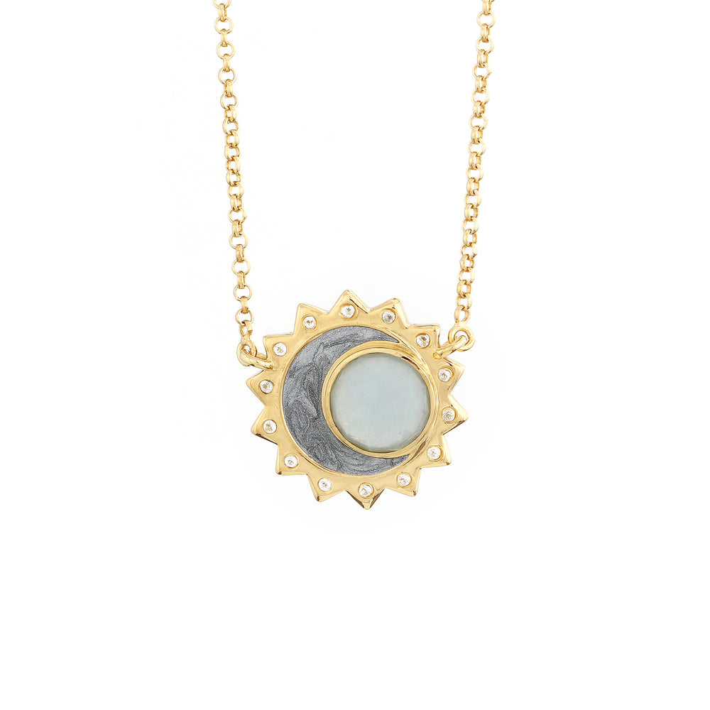 Aquamarine Sun Moon Birthstone Necklace - Gold Plated