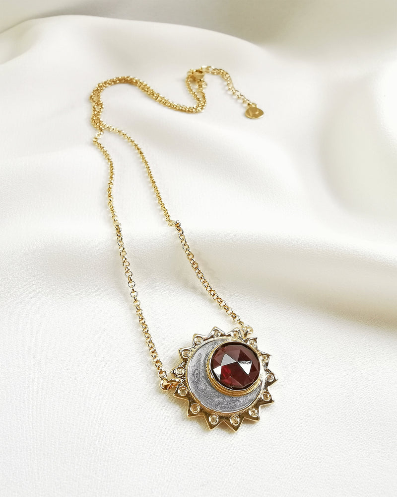 Garnet birthstone sun moon necklace