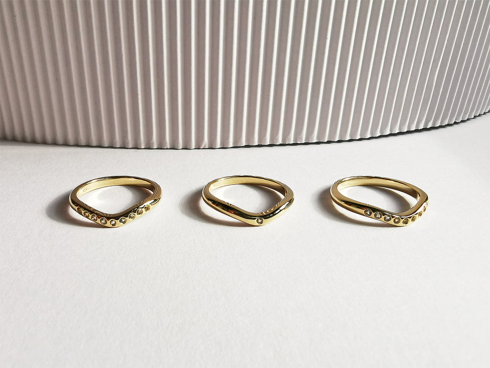 Contemporary 14K Gold Stack Trio Ring