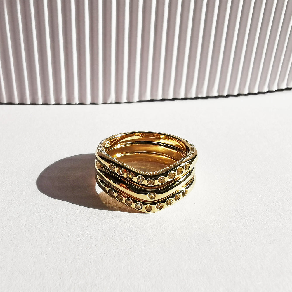 Lauren Trio Stack White Topaz Ring - Gold Plated
