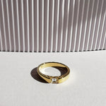 Elin White Topaz Oval Ring - Gold Plated