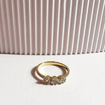Tory White Topaz Trio Ring - Gold Plated