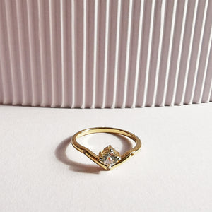 14K Gold Plated White Topaz V Ring