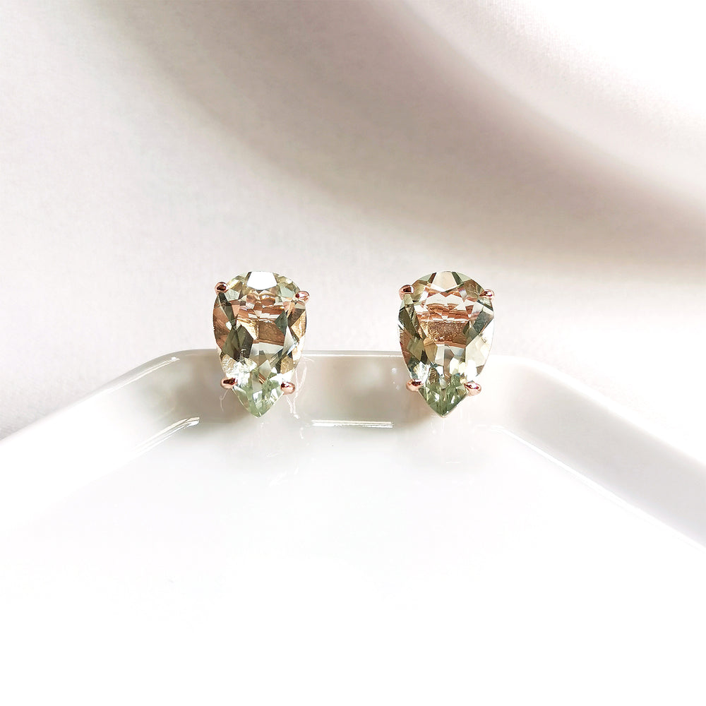 Yara Green Amethyst Topaz Pear Stud Earrings - Rose Gold Plated