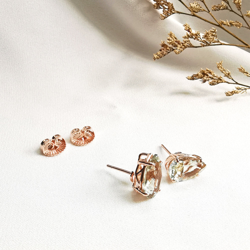 Gemstone Pear Stud Earrings