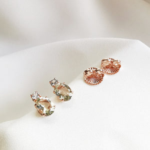 Poppy Green Amethyst Topaz Oval Stud Earrings - Rose Gold Plated