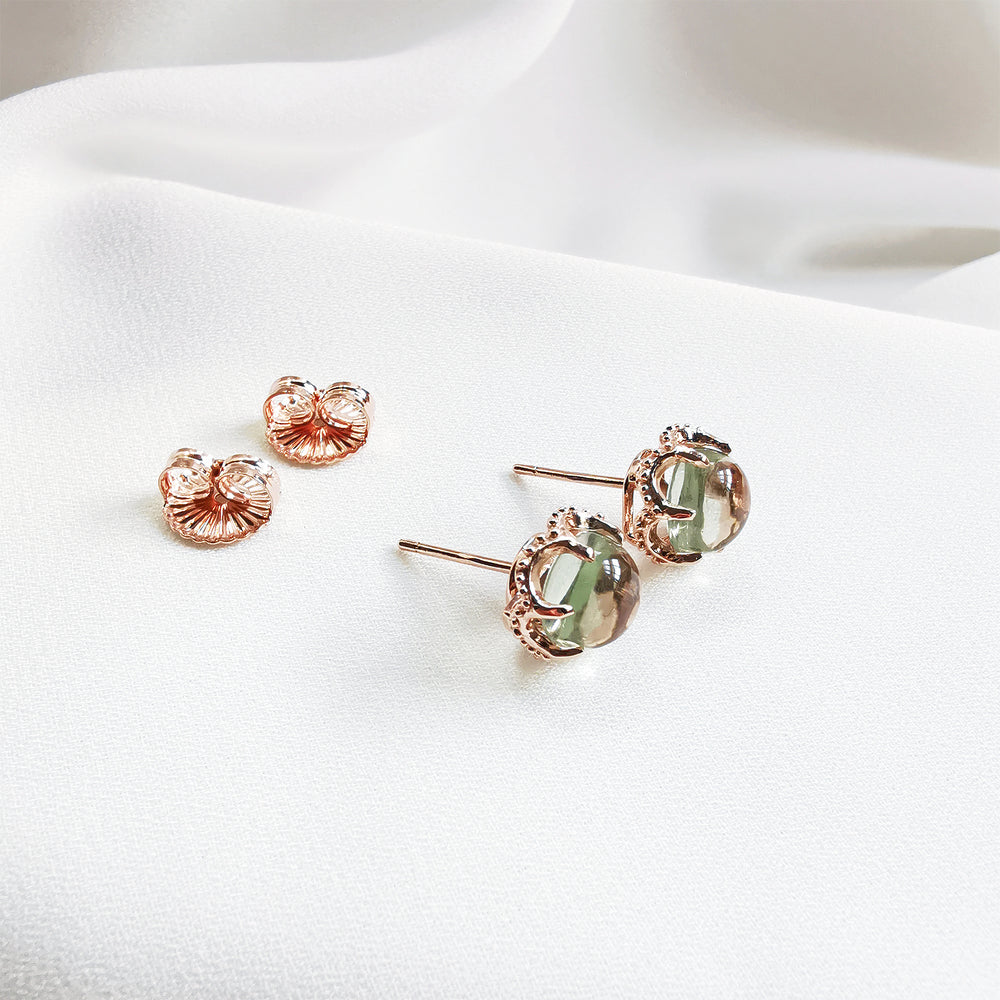 Noa Green Amethyst Round Cabochon Stud Earrings - Rose Gold Plated