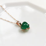 Raina Green Chalcedony Petite Heart Necklace - Rose Gold Plated