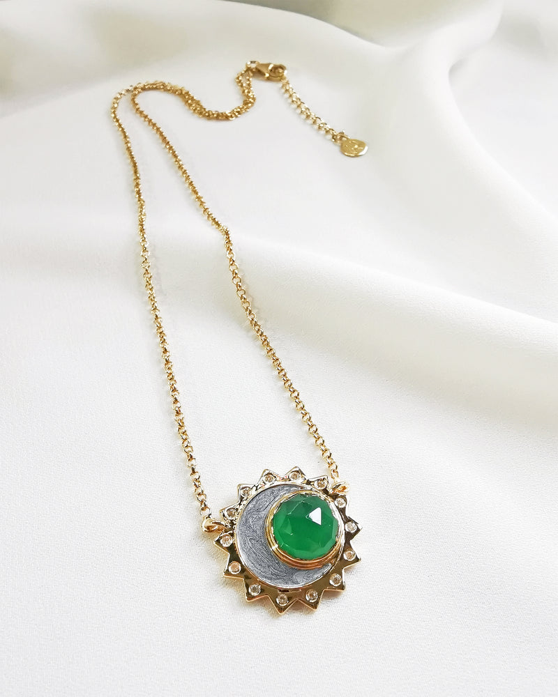 Load image into Gallery viewer, Green Onyx sun moon birthstone necklace