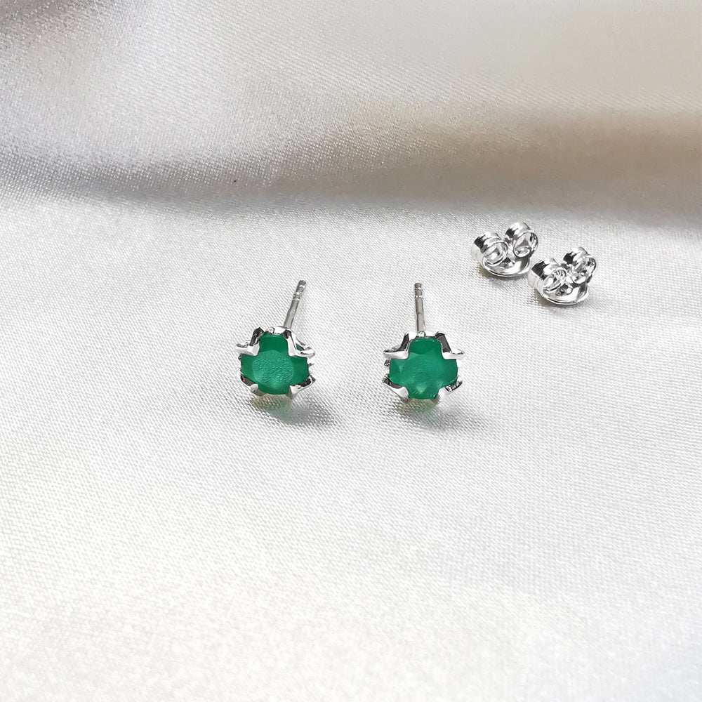 Green Onyx Round Stud Earrings - Sterling Silver