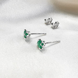 Rhodium plated Green Onyx Round Stud Earrings