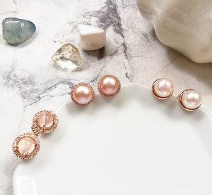 Pinkish fresh water pearl, white topaz earrings