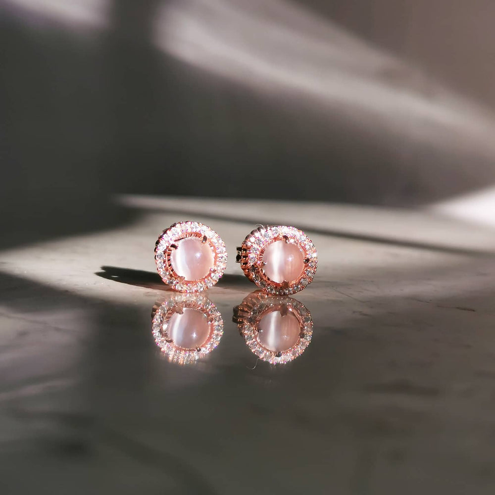 Buy Moonstone Halo Stud Earrings