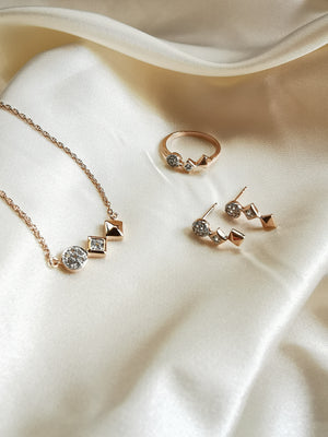 Shapes Encrusted White Topaz Ring with Matching Necklace and Earrings