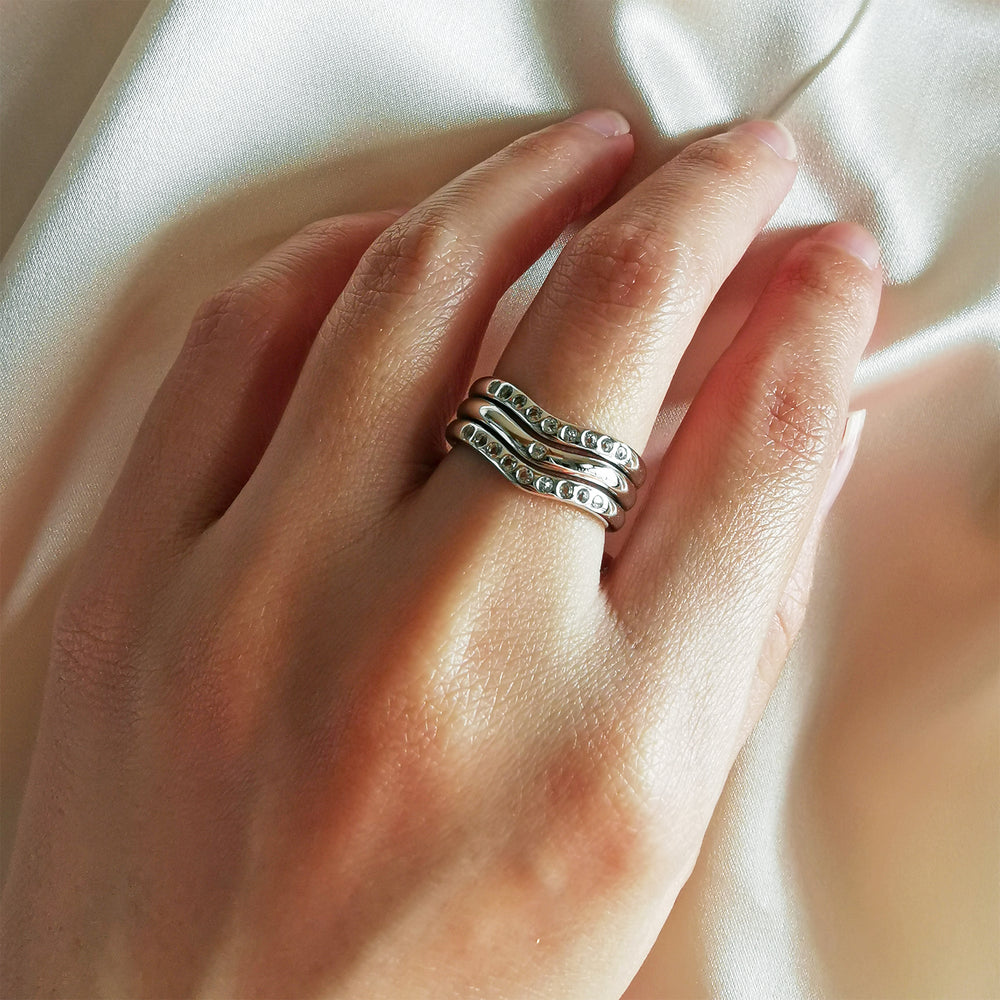 Load image into Gallery viewer, Lauren Trio Stack White Topaz Ring - Sterling Silver