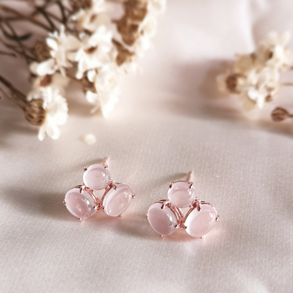Load image into Gallery viewer, Audrey Rose Quartz Trio Stud Earrings - Rose Gold Plated