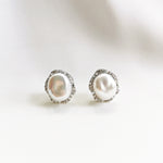 Kiera Keshi Pearl Halo Stud Earrings - Sterling Silver