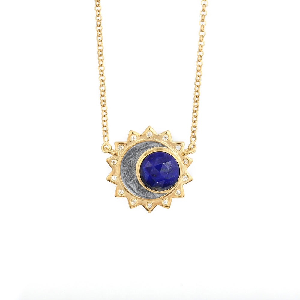 Lapis Lazuli Sun Moon Birthstone Necklace - Gold Plated