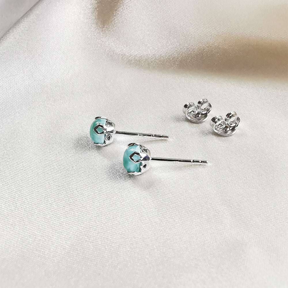 Rhodium plated Larimar Round Stud Earrings