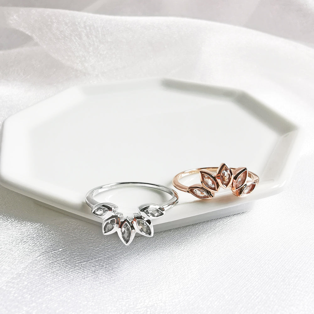 Olivia White Topaz Lotus Ring - Rose Gold or Rhodium Plated
