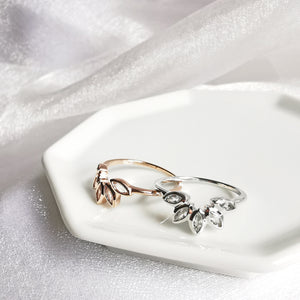 Olivia White Topaz Lotus Ring