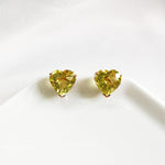 Zoe Lemon Quartz Heart Stud Earrings - Rose Gold Plated