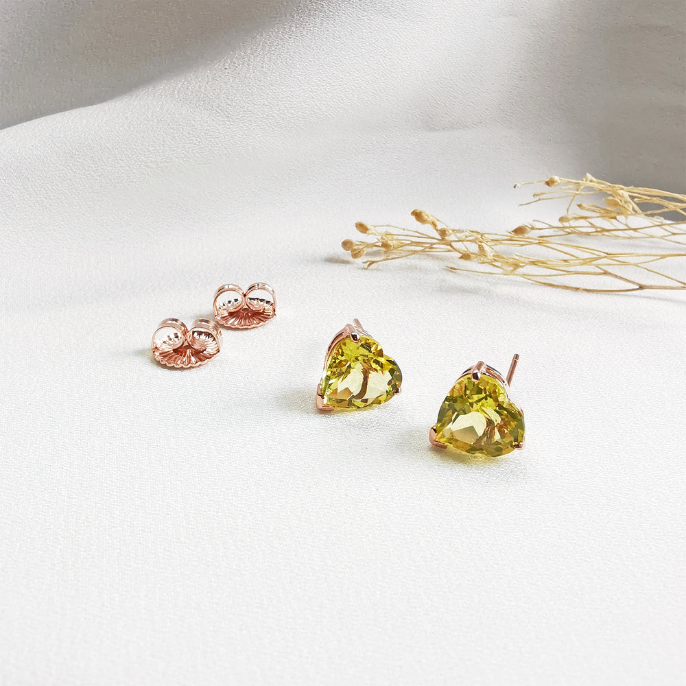 Gemstone Heart Shaped Stud Earrings