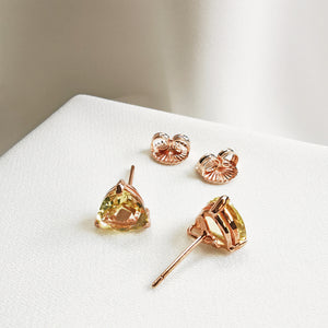 Zola Lemon Quartz Trillion Stud Earrings - Rose Gold Plated