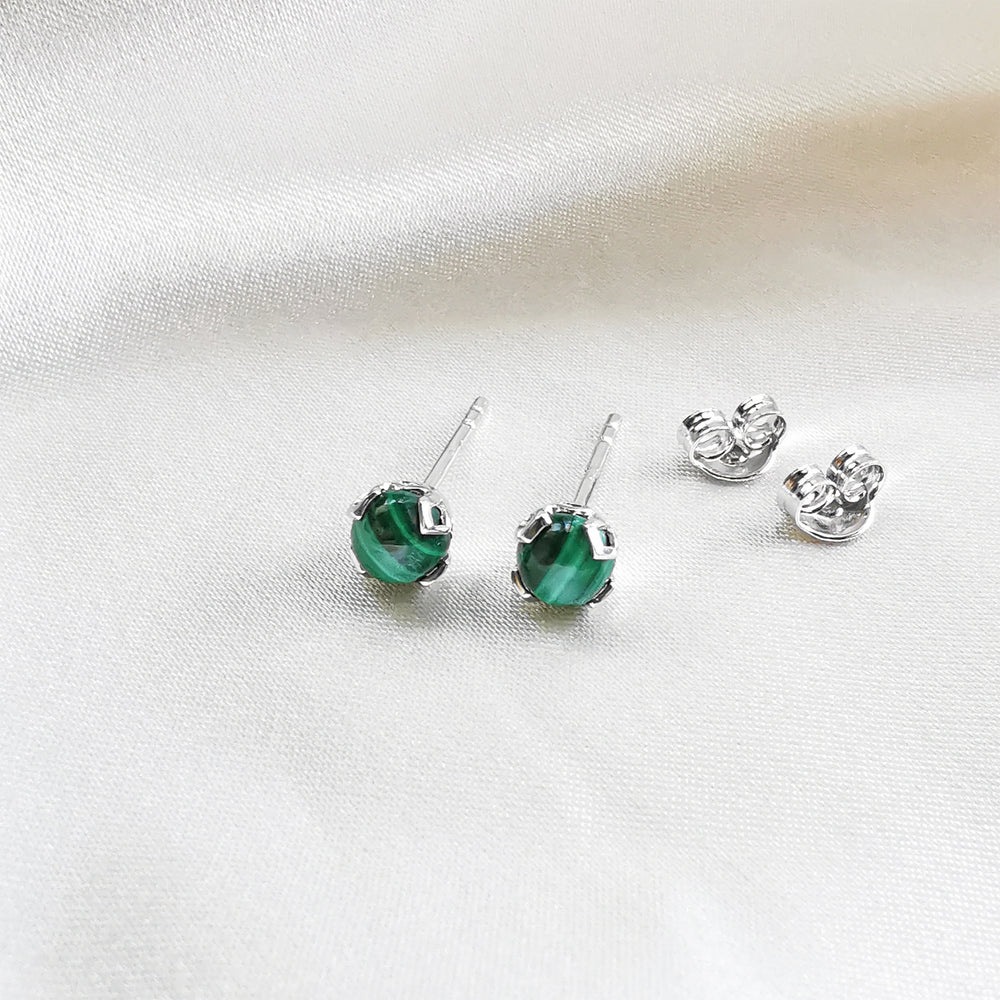 Malachite Round Cabochon Stud Earrings - Sterling Silver