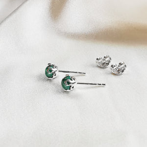 Load image into Gallery viewer, Rhodium plated Malachite Round Stud Earrings