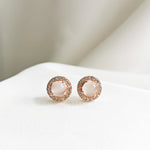 Piper Moonstone Halo Stud Earrings - Rose Gold Plated
