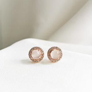 Load image into Gallery viewer, Moonstone Halo Stud Earrings