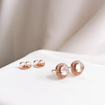 Piper Moonstone Halo Stud Earrings