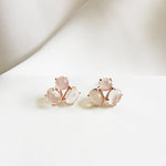 Audrey Moonstone Trio Stud Earrings - Rose Gold Plated