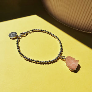 Morganite Raw Gemstone Beaded Bracelet